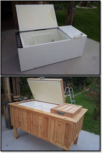 Upcycled Fridge to Deck Ice Chest
